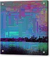 Emerald City Skyline Cubed Acrylic Print