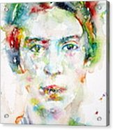 Emily Dickinson - Watercolor Portrait Acrylic Print