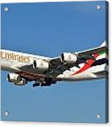 Emirates Airbus A380-861 A6-eeo Los Angeles International Airport January 19 2015 Acrylic Print