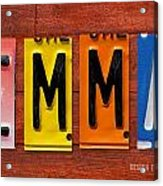 Emma License Plate Name Sign Fun Kid Room Decor Acrylic Print