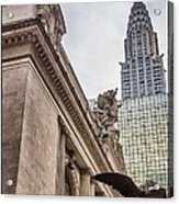 Empire State Building And Grand Central Station Dramatic Acrylic Print by For Ninety One Days