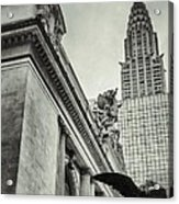 Empire State Building And Grand Central Station Vintage Black And White Acrylic Print by For Ninety One Days