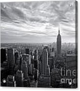 Empire State Building And Midtown Manhattan Black And White Acrylic Print