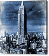 Empire State Building Blimp Docking Blue Acrylic Print