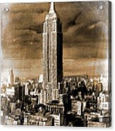 Empire State Building Blimp Docking Sepia Acrylic Print