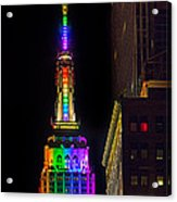 Empire State Building Lit For Gay Pride Acrylic Print