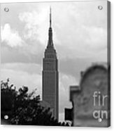 Empire State Building Seen From Calvary Cemetery In Queens Acrylic Print