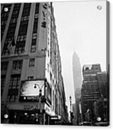 Empire State Building Shrouded In Mist As Pedestrians Crossing Crosswalk On 7th Ave New York Acrylic Print