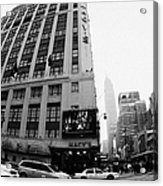 Empire State Building Shrouded In Mist As Yellow Cabs Crossing Crosswalk On 7th Ave And 34th Street Acrylic Print by Joe Fox