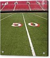 Empty American Football Stadium 50 Yard Line Acrylic Print