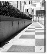 Empty Footpath Leading Towards Buildings On Sunny Day Acrylic Print