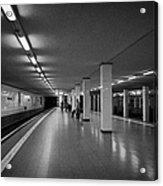 empty Potsdamer Platz s-bahn station Berlin Germany Acrylic Print by Joe Fox