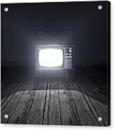 Empty Room With Illuminated Television Acrylic Print