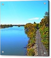 Empty Train Tracks Of Rockford On The Rock River With Fall Colors Acrylic Print
