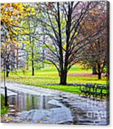 Empty Walkway On A Beautiful Rainy Autumn Day Acrylic Print