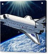 Endeavour In Space Acrylic Print by Stu Shepherd