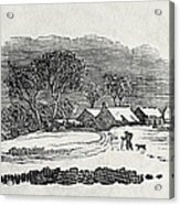 Endpiece, Late 18th Or Early 19th Century Wood Engraving 99;landscape; Winter; Figure; Snow; Snowy; Acrylic Print