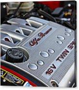 engine cover on an Alfa Romeo twin spark engine in a 156 Acrylic Print by Joe Fox