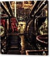 Engine Room Queen Mary 02 Sepia Acrylic Print