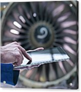 Engineer Using Digital Tablet In Front Acrylic Print