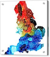 England - Map Of England By Sharon Cummings Acrylic Print