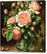English Elegance Roses In A Glass Acrylic Print