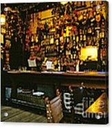 English Pub At Christmas-time Uk 1980s Acrylic Print by David Davies