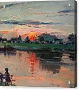 Enjoying The Sunset By Elmer's Pond Acrylic Print