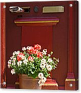 Entrance Door With Flowers Acrylic Print