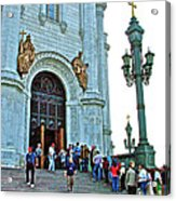 Entrance To Christ The Savior Cathedral In Moscow-russia Acrylic Print