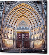 Entrance To The Barcelona Cathedral At Night Acrylic Print