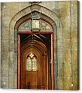 Entrance To The Gothic Revival Chapel. Streets Of Dublin. Painting Collection Acrylic Print by Jenny Rainbow