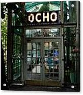Entrance To Trendy Ocho Restaurant In San Antonio Texas Watercolor Digital Art Acrylic Print