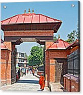 Entry To Pasupatinath Temple Of Cremation Complex In Kathmandu-nepal    Acrylic Print