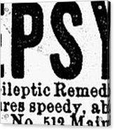 Epilepsy Treatment, 1878 Acrylic Print