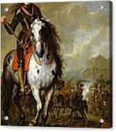 Equestrian Portrait Of Prince Eugene De Savoie 1663-1736 C.1700-10 Oil On Panel Acrylic Print