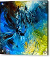Equus Blue Ghost Acrylic Print by Marcia Baldwin