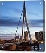 Erasmus Bridge And City Skyline Of Rotterdam At Dusk Acrylic Print