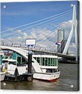 Erasmus Bridge In Rotterdam Downtown Acrylic Print by Artur Bogacki