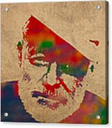 Ernest Hemingway Watercolor Portrait On Worn Distressed Canvas Acrylic Print