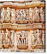 Erotic Human Sculptures Khajuraho India Acrylic Print