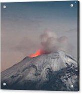 Eruption Of A Volcanoe At Night Acrylic Print