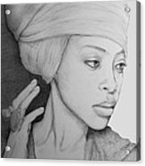 Erykah Badu Graphite On Museum Panel Acrylic Print
