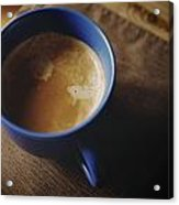 Espresso With Cream In Blue Porcelain Acrylic Print