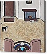 Essence Of Home - Black And White Cat In Living Room Acrylic Print