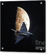 Eurofighter Against A Harvest Moon Acrylic Print by Peter McHallam