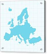 Europe Map On Grid On Blue Background Acrylic Print