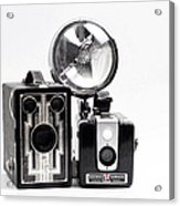 European Travelers Mother And Daughter Cameras Bw Acrylic Print
