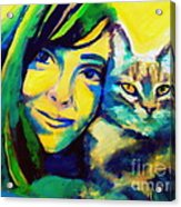 Evangelina And The Cat Acrylic Print