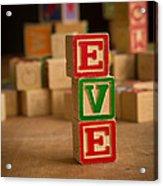 Eve - Alphabet Blocks Acrylic Print